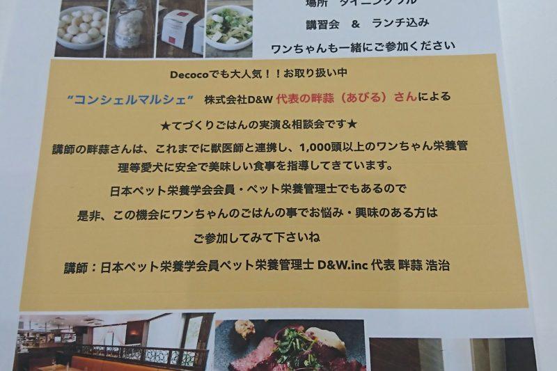 【Decoco】Coming Soon。。。わんちゃん ご飯手作り  実演 食のお勉強会 by コンシェルマルシェのアイキャッチ